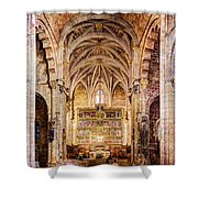 Saint Isidore - Romanesque Temple Altar And Vault - Vintage Version Shower Curtain