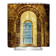 Saint Isidore - Romanesque Window With Stained Glass - Vintage Version Shower Curtain