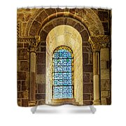 Saint Isidore - Romanesque Window With Stained Glass Shower Curtain