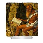 Saint Jerome Reading 1480-1490 Giovanni Bellini Shower Curtain