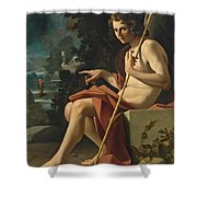 Saint John The Baptist In A Landscape Shower Curtain