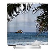Saint Lucia Palm Tree Small Rock Caribbean Flowing Shower Curtain