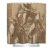 Saint Mark With Two Bishops And Putti Shower Curtain