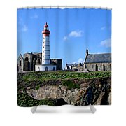 Saint-mathieu Lighthouse And The Ruins Of The Abbey Of Saintlmat Shower Curtain