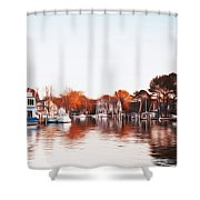 Saint Michael's Harbor Shower Curtain by Bill Cannon