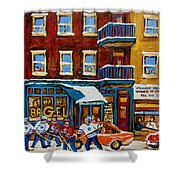 Saint Viateur Bagel With Hockey Shower Curtain