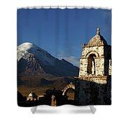 Sajama Volcano And Lagunas Church Belfry Bolivia Shower Curtain