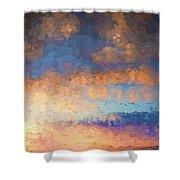 Salamonie Sunset Abstract Shower Curtain