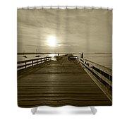 Salem Willows Pier At Sunrise Sepia Shower Curtain