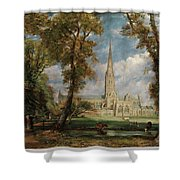 Salisbury Cathedral From The Bishop Grounds Shower Curtain