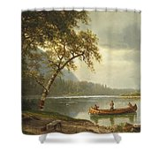 Salmon Fishing On The Caspapediac River Shower Curtain by Albert Bierstadt