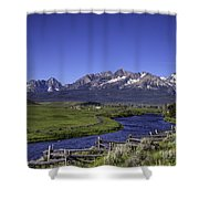 Salmon River And Sawtooth Mountains Shower Curtain