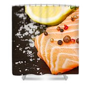 Salmon Steak And Spices Shower Curtain