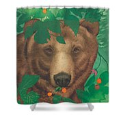 Salmonberry Bear Shower Curtain