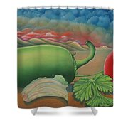 Salsa Across Texas Shower Curtain