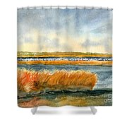 Salt Marsh And Snow Geese Shower Curtain