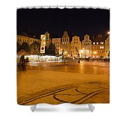 Salt Square In Wroclaw At Night Shower Curtain