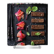 Salted Salmon With Beetroot  Shower Curtain