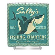 Salty's Fishing Charters Shower Curtain