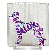Saluki Dog Watercolor Painting / Typographic Art Shower Curtain