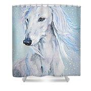 Saluki White Beauty Shower Curtain