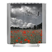 Salute To The Brave - P51 Flying Over Poppy Field Shower Curtain