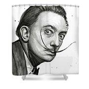 Salvador Dali Portrait Black And White Watercolor Shower Curtain