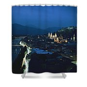Salzburg, Austria, Night View Shower Curtain