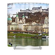 Salzburg City And Fortress  Shower Curtain