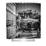 Salzburg Wonderful View To Salzburg Fortress Monochrome Shower Curtain