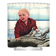 Sam And The Log Shower Curtain