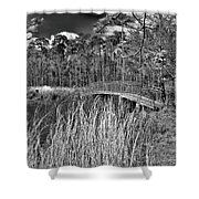 Sam Houston Jones State Park Bridge Bw Shower Curtain