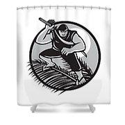 Samoan Ninja On Top Of Coconut Front Circle Shower Curtain