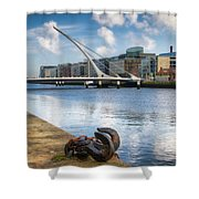 Samuel Beckett Bridge, Dublin, Ireland Shower Curtain