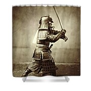 Samurai With Raised Sword Shower Curtain by F Beato