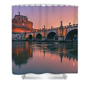 San Angelo Bridge And Castel Sant Angelo Shower Curtain