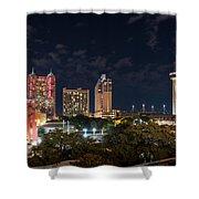 San Antonio Cityscape At Night Shower Curtain