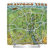 San Antonio Texas Cartoon Map Shower Curtain