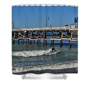 San Clemente Surfing Shower Curtain