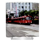 San Diego Red Trolley Shower Curtain
