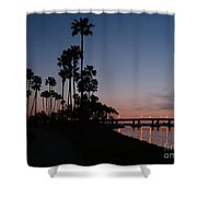 San Diego Sunset With Palm Trees Shower Curtain