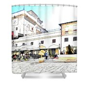 San Felice Circeo Bar And Fountain In The  Square Shower Curtain