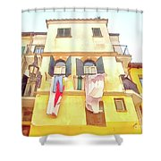 San Felice Circeo Building With The Put Clothes Shower Curtain