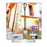 San Felice Circeo Chairs And Street Lamp Shower Curtain