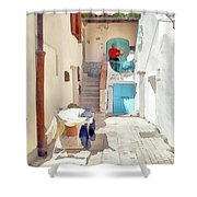 San Felice Circeo Man Puts On Clothes Shower Curtain