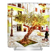 San Felice Circeo Olive Tree In The Square Shower Curtain