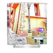 San Felice Circeo Strret Lamp Shower Curtain