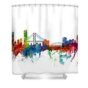 San Francisco And Pittsburgh Skylines Mashup Shower Curtain