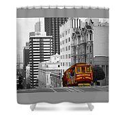 San Francisco - Red Cable Car Shower Curtain