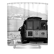 San Francisco Cable Car With Alcatraz Shower Curtain